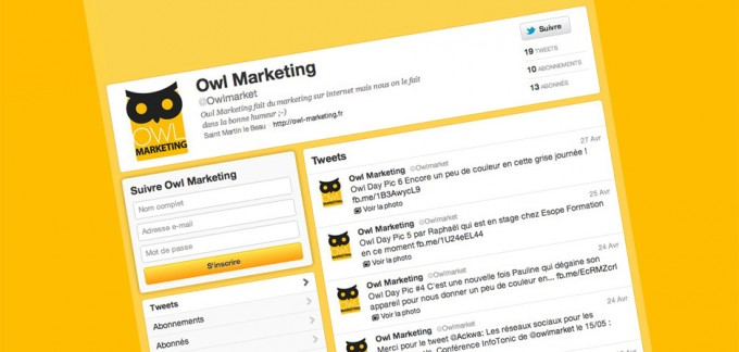 Le compte Twitter de Owl Marketing