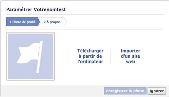 créer une page facebook entreprise: ajouter une photo de profil