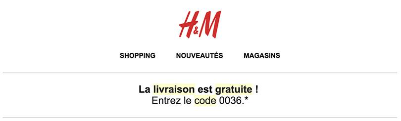 Livraison offerte sur H&M grâce à un code promotionnel