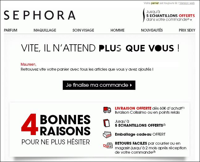 Un exemple de mail de relance par Sephora