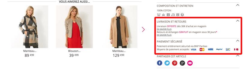 Modalités de livraisons sur es fiches produits du site Camaieu