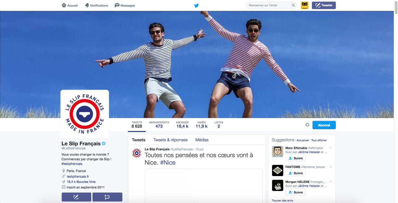 Le compte Twitter certifié du @LeSlipFrancais