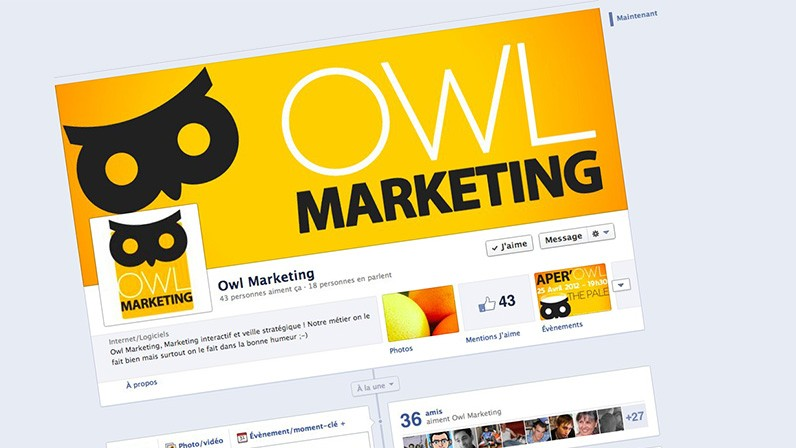 La page Facebook de Owl Marketing