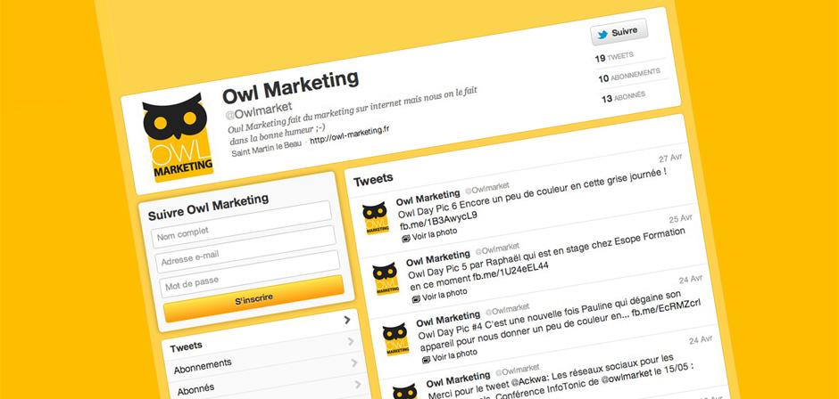 Le compte Twitter de Owl Marketing